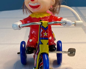 Vintage  Wind-Up Clown Tricycle Tin Toy