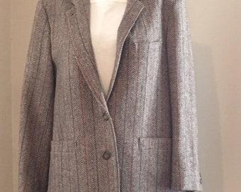 F.L. Collection Women's Wool Tweed Silk Blazer
