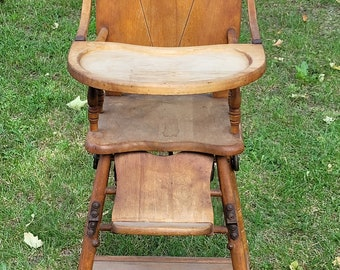 Vintage Wooden Baby High Chair Highchair Convertible Desk - Pick Up Only
