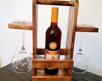 Handmade Wood Wine Bottle & Glass Caddy