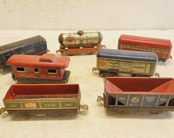 Vintage Tin Railroad Car Collection - 7 pcs