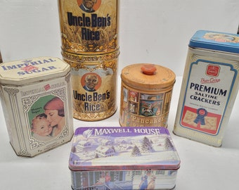 Vintage 6 Piece Tin Canister Set - #3