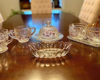 Vintage High End Pressed Glass Creamer, Sugar & Tidbit Set