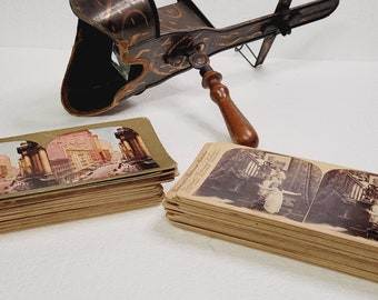 Antique RARE Copper Stereoscope 1800's with 41 Cards