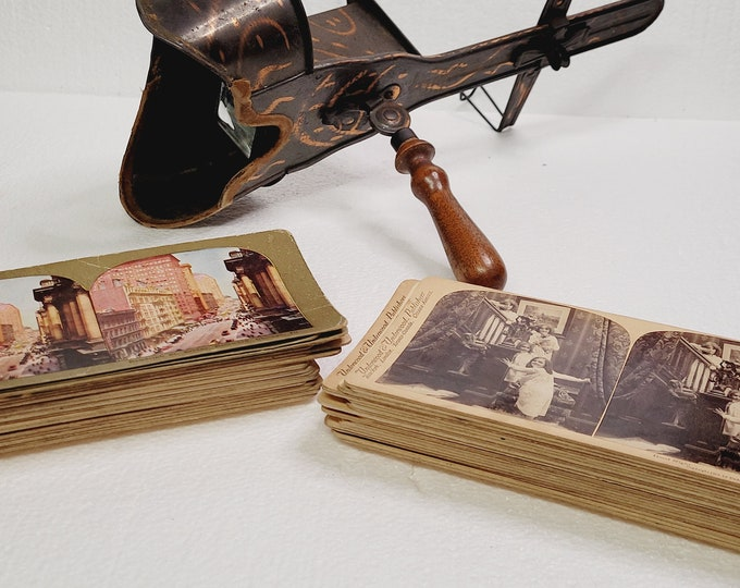 Featured listing image: Antique RARE Copper Stereoscope 1800's with 41 Cards