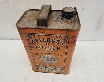 Very Old Vintage Kellogs and Miller Linseed Oil Can