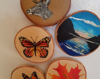 Round Birch Hand Painted Magnets - Set of 5