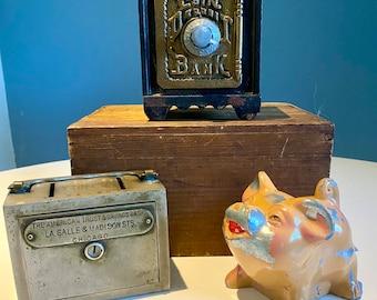 Three Vintage / Antique Cast Iron Coin Deposit Banks