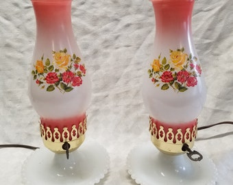Red Glass Hurricane Lamps with Milk Glass Base