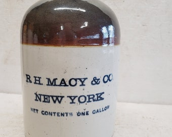 Antique Advertising Stoneware Jug C1900 Marked R.h. Macy & Co York