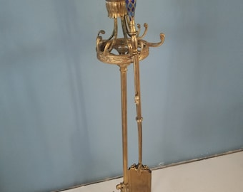 Vintage Brass Fireplace Tool Stand with Rare Ash / Coal Bin