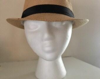 Vintage Paper Straw Men's Fedora Hat