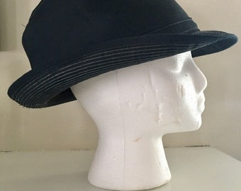 Vintage Navy Blue  Canvas Fedora Men's Hat