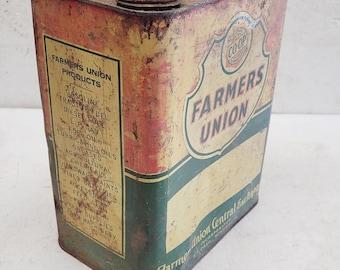 Vintage Farmers Union Motor Oil 2 Gallon Can - Rare!