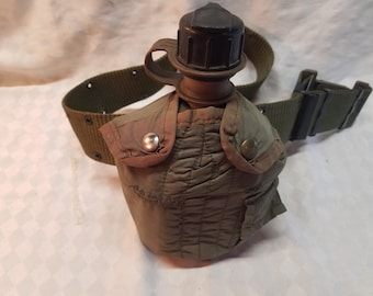 U.S. Military Army Canteen and Cover with Green Nylon Belt