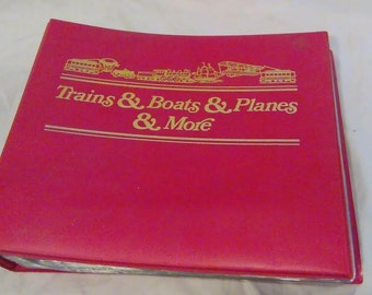 Vintage Stamp Collection Of Trains, Boats & Planes w/ Print