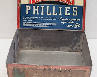 Vintage Philadelphia Phillies Tin Cigar Box c1925