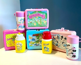 Vintage lot of 4 Plastic Lunch Boxes with Thermos