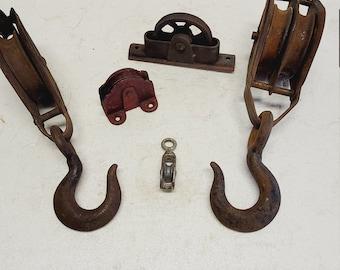 Vintage set of 5 Metal Pulley's