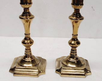 Vintage Pair of Brass Portuguese Candle Holders