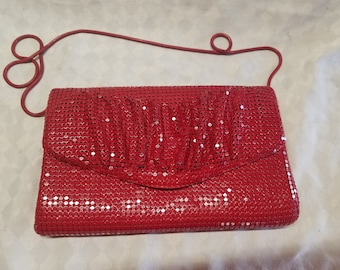 Ladies Vintage Red Sequin Clutch Purse
