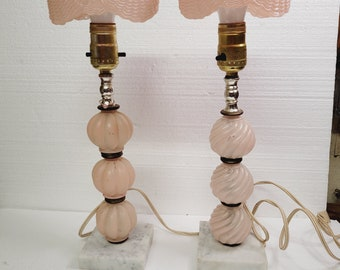 Vintage Set Pink Glass Table lights with Marble Base