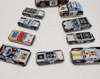 Vintage 10 Pc. Set Tin Toy Police Cars