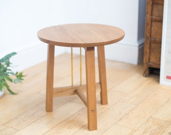 Side Table - Solid wood and brass