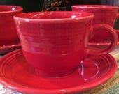 Fiesta scarlet red cup saucer Homer Laughlin Fiestaware Retro Tea Party Cups Saucers Home Kitchenware Entertaining tea coffee cups Red