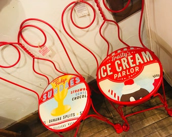 Vintage Revell Ice Cream Parlor Chairs/Chicago Upcycled Ice Cream Chairs/Home  Decor/Vintage Ice Cream Chairs/Red Chairs/