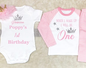 four three five two Princess birthday outfit with Pyjamas Ages one