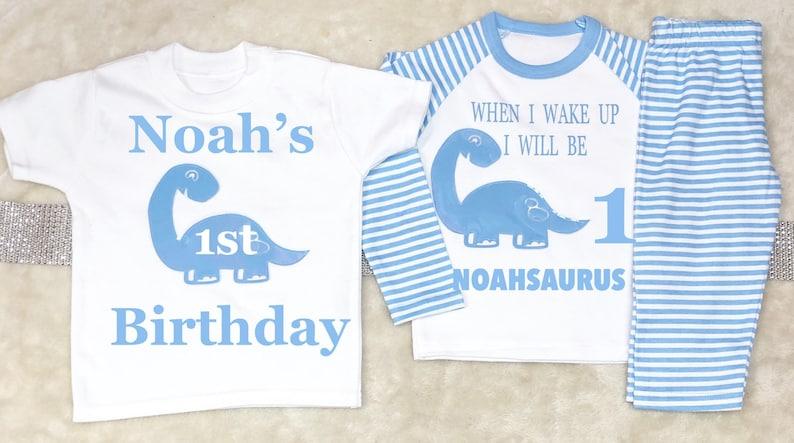 five two six, three Dinosaur Birthday T-Shirt /& Pyjamas Set Ages One four
