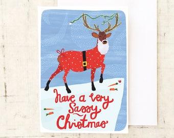Sassy Reindeer Christmas Card, Holiday Card, Christmas Cards, Seasons Greetings, Funny Christmas Card, Stationery, Greetings Cards, BFF Card