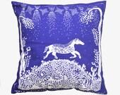 Horse Cushion Cover, 40x40 Pillow, 16x16 Cushions, Horses, Cobalt Blue Throw Pillow, Indigo Cushion, Housewarming Gift, Gift for Her