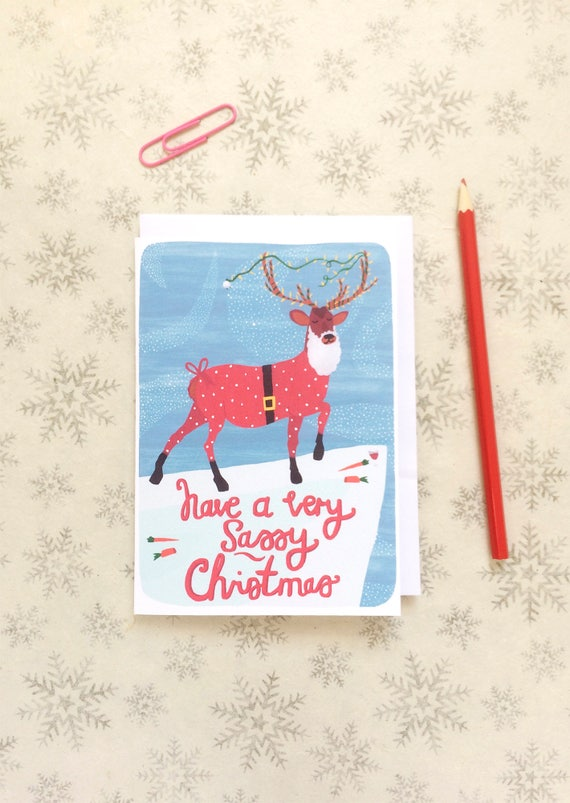 Reindeer Christmas Cards.Sassy Reindeer Christmas Card Holiday Card Christmas Cards Seasons Greetings Funny Christmas Card Stationery Greetings Cards Bff Card