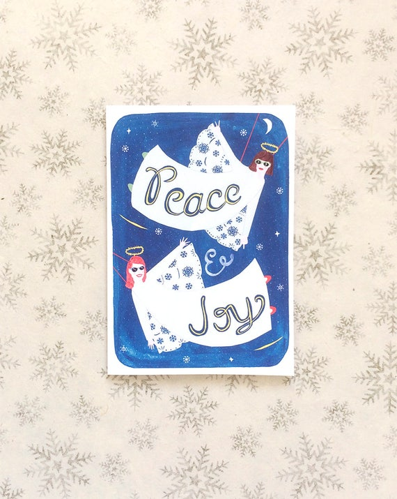 Angels Christmas Cards.Christmas Card Angels Christmas Cards Funny Christmas Card Peace And Joy Angel Paper Goods Stationery Stars Nativity Bff Card