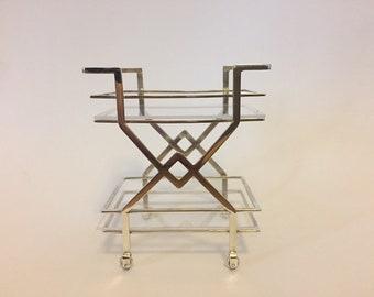 Miniature Art Deco Silver drinks cart