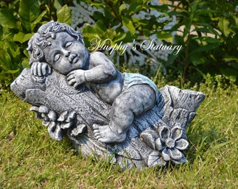 Baby Boy in Hands Solid Concrete Statue Hand Painted Vintage Rustic Style