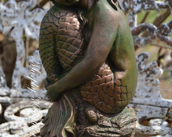 Mermaid Solid Concrete Statue Antique Hand Painted Aged Antique Bronze Finished
