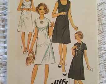 Vintage Retro 70's Dress Pattern Simplicity 9175 Jiffy Size 20 1/2 Cut Complete