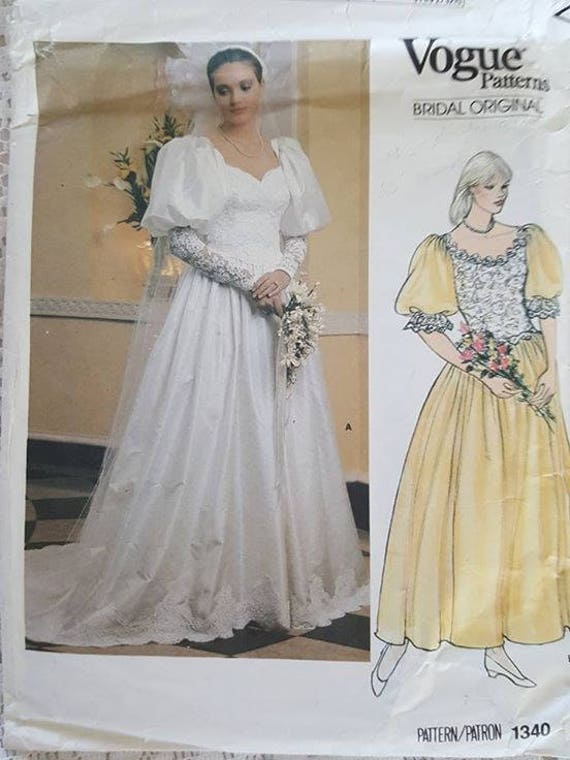 Bridal Original Wedding Dress Sewing Pattern 1340 Vogue Size | Etsy