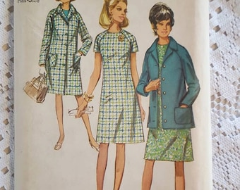 1970 Vintage Coat and Jacket and Dress in Half-Sizes Sewing Pattern Simplicity 9037 Size 20 1/2 NEW FACTORY FOLDED