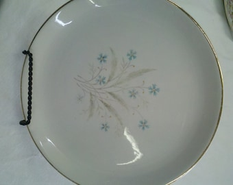 Gold Rimmed Decorative Plate with tiny Blue flowers