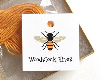 """Honey Jar Tags, Custom Honey Labels, 12 or 20 Personalized Food Tags, Honey Bee, Beekeeper Gift, Hive Supplies, Bee Tags, 2.25"""" or 2"""" square"""