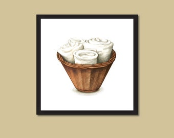 """Laundry Room Decor, Basket with Towels, Laundry Basket Art, Watercolor Home Decor Print, 6"""" x 6"""", 8"""" x 8"""" or 10"""" x 10"""""""