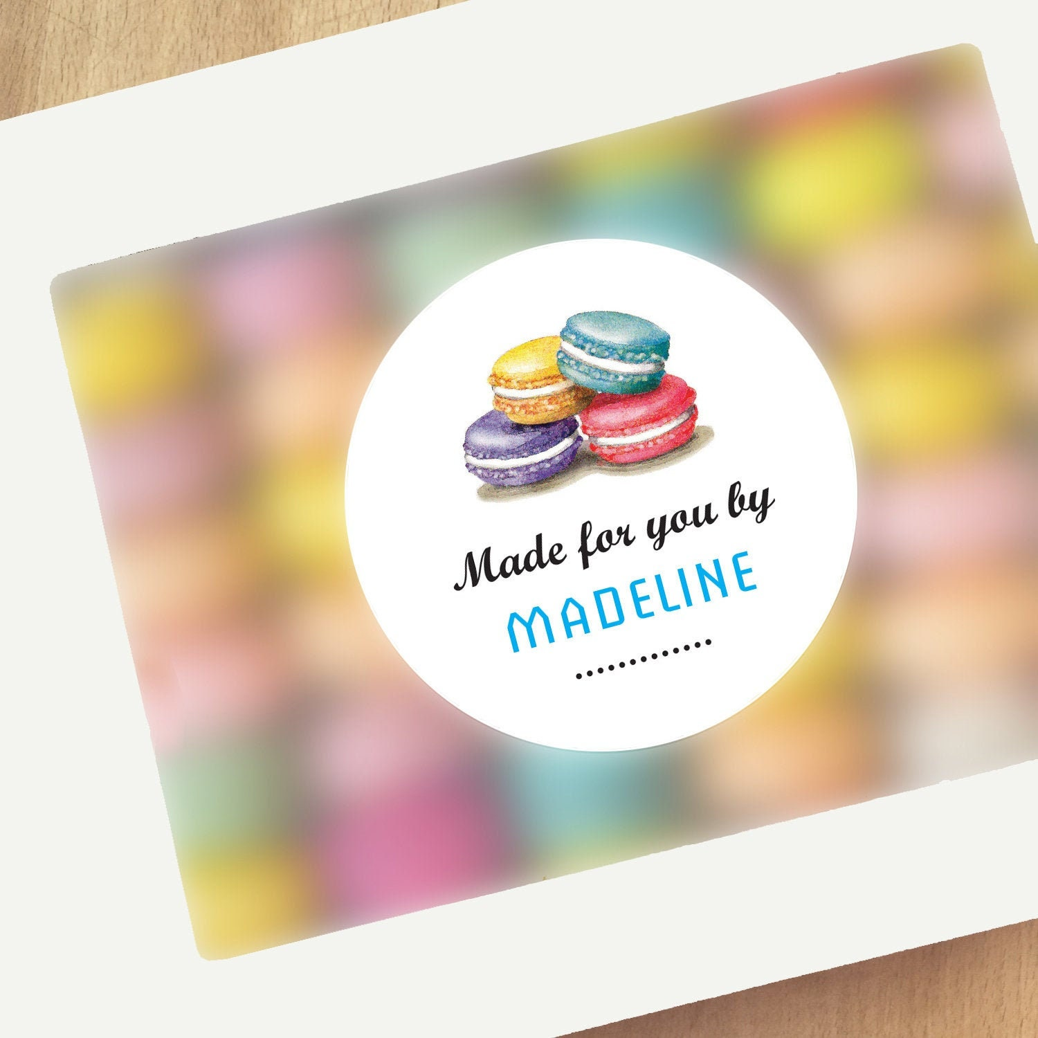 Macaron box labels 12 baking stickers personalized kitchen gift bakery box labels made for you by sticker 2 5 circle