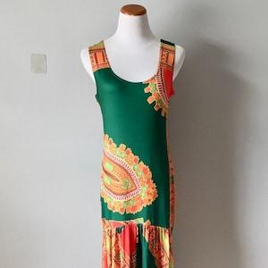 Vintage Poly Spandex Sleeveless 70s print Size L very long Tall
