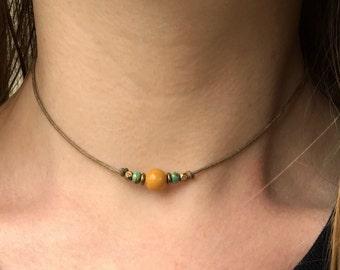 Gemstone choker, Yellow jasper choker, Jasper necklace, Simple stone choker, Natural stone choker, Minimalist choker, Simple bead choker