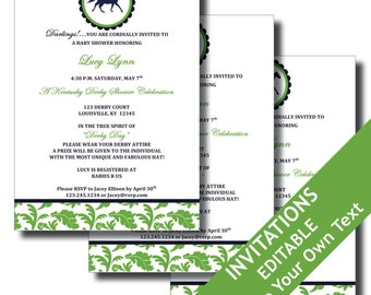 Kentucky Derby Printable Invitations and Party Supplies - Horse, Horseshoe, Jockey, Races, Birthday, Baby Shower - EDITABLE INSTANT DOWNLOAD