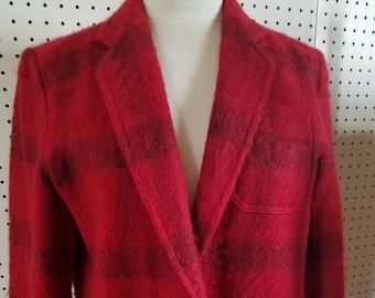 Vintage 1980's Liz Claiborne Red Black Buffalo Plaid Mohair Blazer Jacket  Marked Size 12  Made in USA